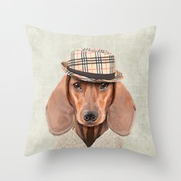 The stylish Mr Dachshund Throw Pillow