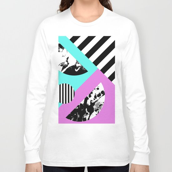 Stripes And Splats 2 - Random, Crazy, Abstract, Geometric, Black And White, Cyan, Pink Artwork Long Sleeve T-shirt