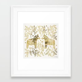 Swedish Dala Horses – Gold Palette Framed Art Print