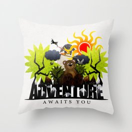 Adventure Awaits You Throw Pillow