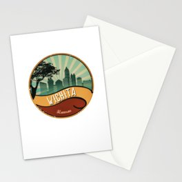 Wichita City Skyline Kansas Retro Vintage Design Stationery Cards