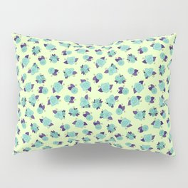 Simple Linework Roses - Teal and Purple Pillow Sham