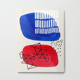 Fun Abstract Minimalist Mid Century Modern Colorful Shapes Red Blue Color Harmony Watercolor Bubbles Metal Print