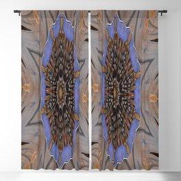 Blue Brown Kaleidoscope Retro Groovy Image Blackout Curtain