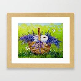 Rabbit in lavender Framed Art Print