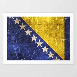 Vintage Aged and Scratched Bosnian Flag Art Print