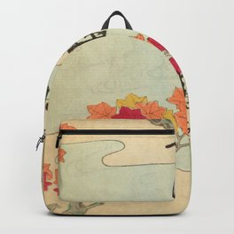 Vintage Japanese Maple Leaf and River Print Backpack