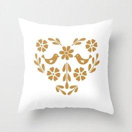 Golden heart shaped floral and bird Throw Pillow