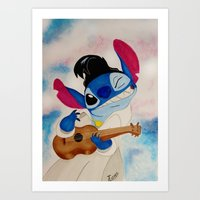 stitch Art Prints featuring Stitch by Goolpia