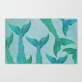 Mermaid Tails in Aquamarine Sea Canvas Print