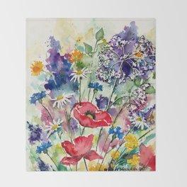Spring Flowers Watercolour Throw Blanket