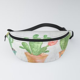 Three Green Cacti Watercolor White Fanny Pack