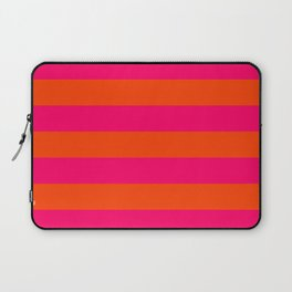 Bright Neon Pink and Orange Horizontal Cabana Tent Stripes Laptop Sleeve