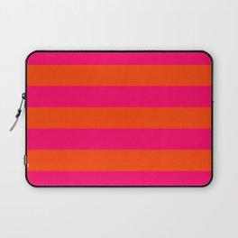 Bright Neon Pink and Orange Horizontal Cabana Tent Stripes Laptop Sleeve