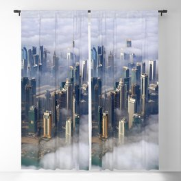 Doha Quatar Cityscape From Above The Clouds Ultra HD Blackout Curtain