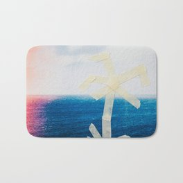 Taped Palm Tree on Printed Photo of Ocean Bath Mat