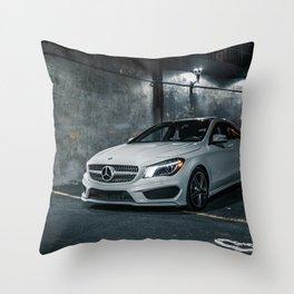 white c class amg benz luxury car Throw Pillow