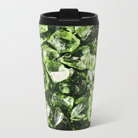 Vibrant greenery crystal rocks Metal Travel Mug