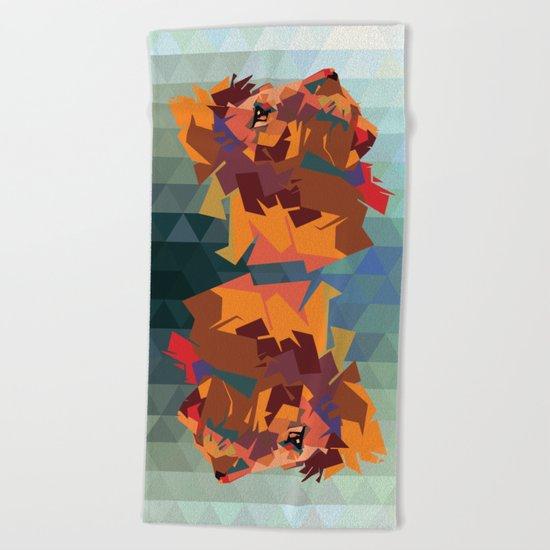 Lion's head - Geometry Beach Towel