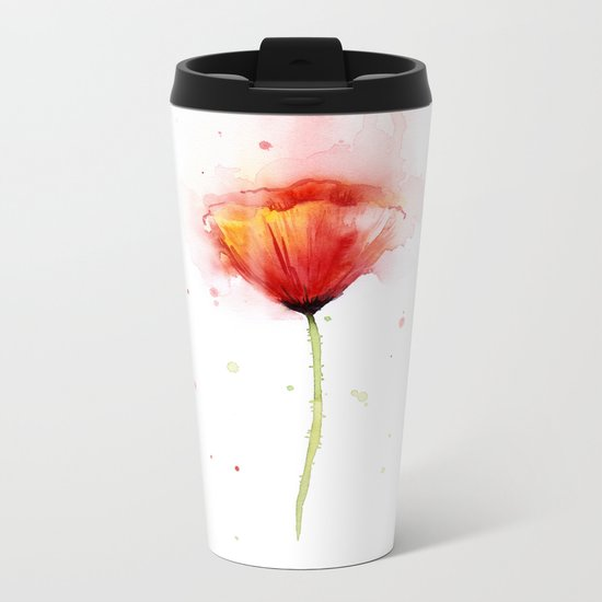 Red Poppy Flower Watercolor Abstract Poppies Floral Metal Travel Mug