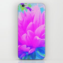 Pink and Purple Dahlia on Blue Digital Oil Painting iPhone Skin