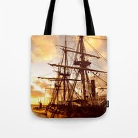 pirate ship Tote Bags featuring PIRATE SHIP :) by Teresa Chipperfield Studios