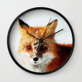 Snowy Faced Fox Wall Clock