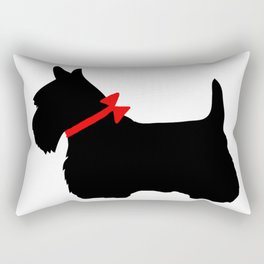 Scottie Dog with Red Bow Rectangular Pillow