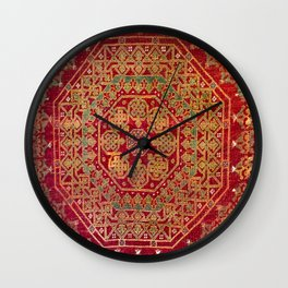 Bohemian Medallion VII // 15th Century Old Distressed Red Green Coloful Ornate Accent Rug Pattern Wall Clock