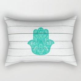 Hip Turquoise Hamsa Hand Henna Pattern Wood Stripe Rectangular Pillow