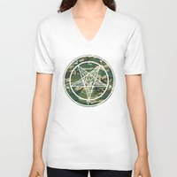 pentagram V-neck T-shirts featuring Pentagram Camo by Parin Cashmony
