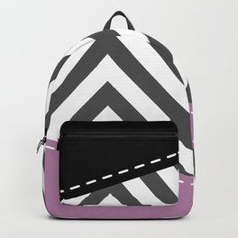 Gray Zigzag, Gray Chevron, Zigzag Pattern, Purple Backpack