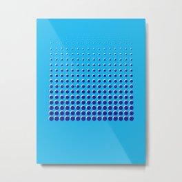 Blue on blue grid - Optical game 14 Metal Print