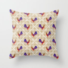 Rooster Pattern Throw Pillow