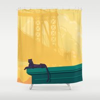 urban Shower Curtains featuring Urban jaguar by Roland Banrevi