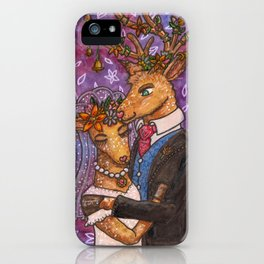 Deer Wedding Bride Groom Couple iPhone Case