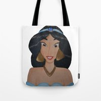 jasmine Tote Bags featuring Jasmine by Sierra Christy Art
