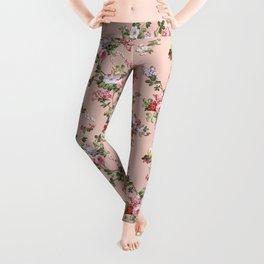 Modern Vintage Pink Coral Green Floral Pattern Leggings