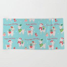 Christmas llamas IV Beach Towel