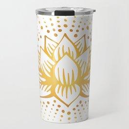 Golden Lotus Mandala Light Travel Mug