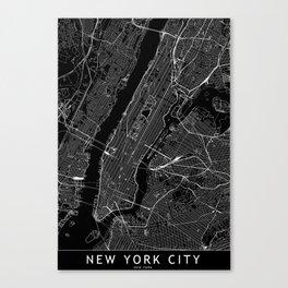 New York City Black Map Canvas Print