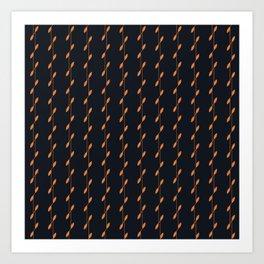 Linear Leaves Black&Gold Art Print