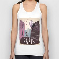 travel poster Tank Tops featuring Vintage Paris Travel Poster cartoon by Nick's Emporium Gallery
