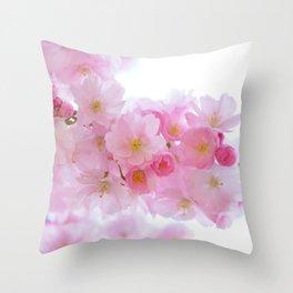 Pink Japanese Cherry Tree Blossom Throw Pillow