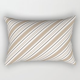 Pantone Hazelnut Nutmeg and White Thick and Thin Angled Lines - Stripes Rectangular Pillow