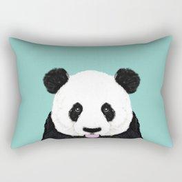 Panda - mint - cute black and white animal portrait,  design, illustration, animal cell phone, case, Rectangular Pillow