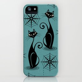 Retro Atomic Spooky Cats iPhone Case