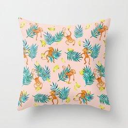 Tropical Monkey Banana Bonanza on Blush Pink Throw Pillow