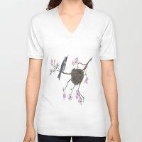 hummingbird V-neck T-shirts featuring Hummingbird by Nancy Smith