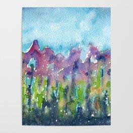 Misty Morning Flowers Poster